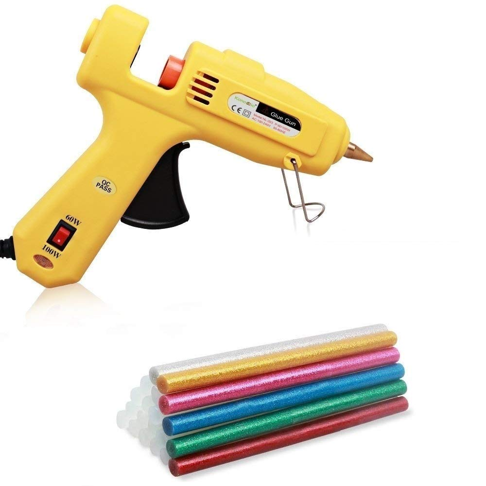 Konomio Pistola de Pegamento profesional 60W / 100W / 11mm con 6 psc Barras de Colores y 14 psc Barras Transparentes de Pegamento Alta Temperatura Pistola de Pegar Kit de Pistola de Pegamento para Decoració n DIY Artesaní a y Industria, Color