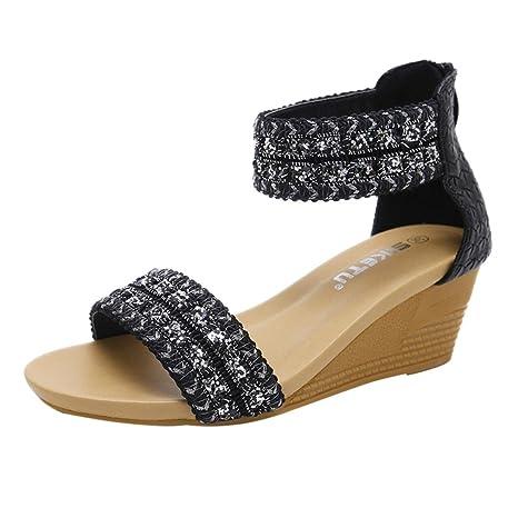 c49466f6e2c36 Amazon.com: Sunshinehomely Womens Wedge Sandals Bohemia Platform ...