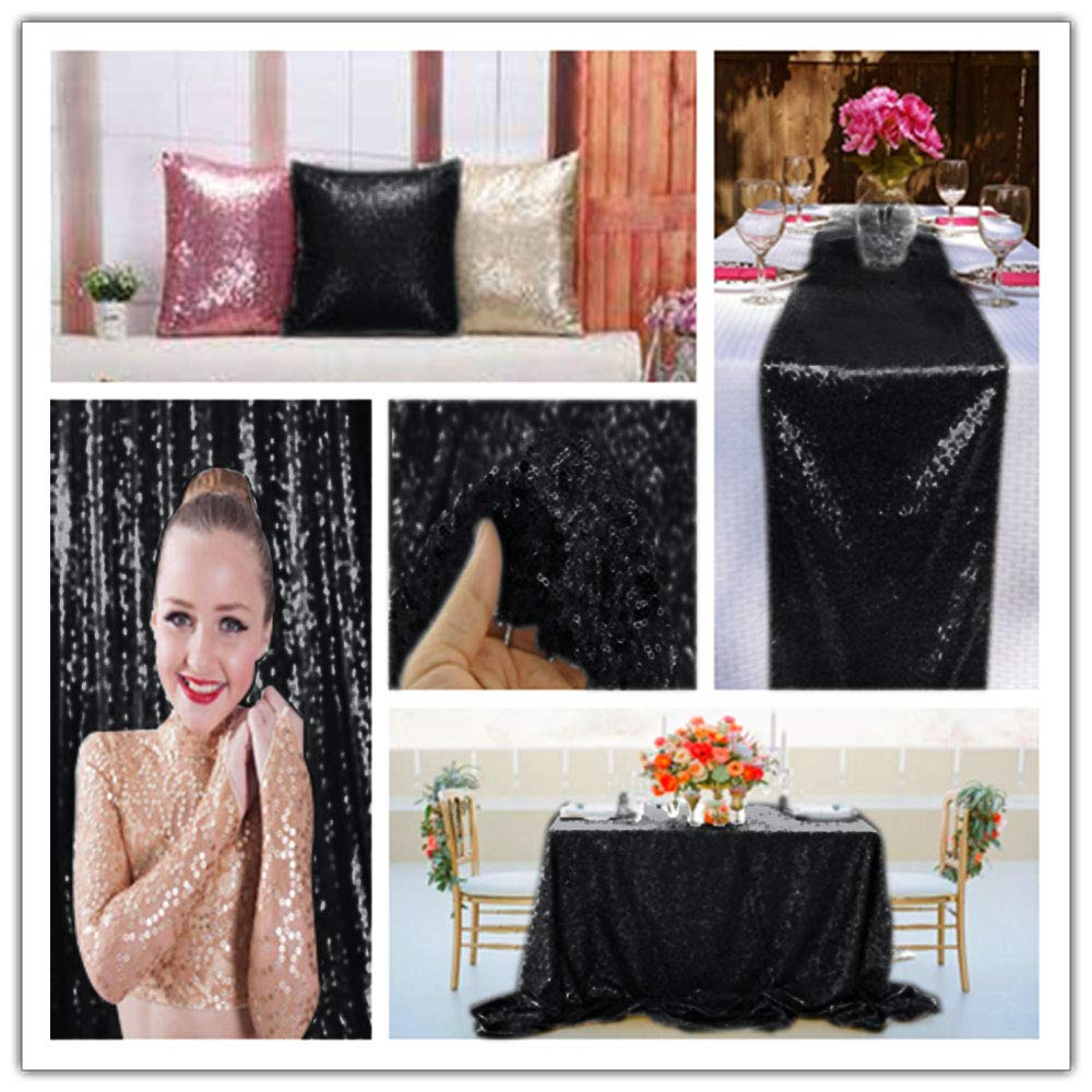 15 Feet Sequin Fabric by The 5 Yards Black Sequin Fabric for Sewing Costumes Sequin Knit Fabric Sequin Table Cloth Table Linen ~0818S by ShiDianYi (Image #4)