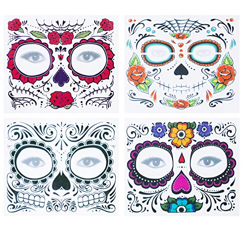 4 Kits Day of the Dead Sugar Skull Temporary Face Tattoo Makeup Tattoo for Men and Women for $<!--$11.99-->