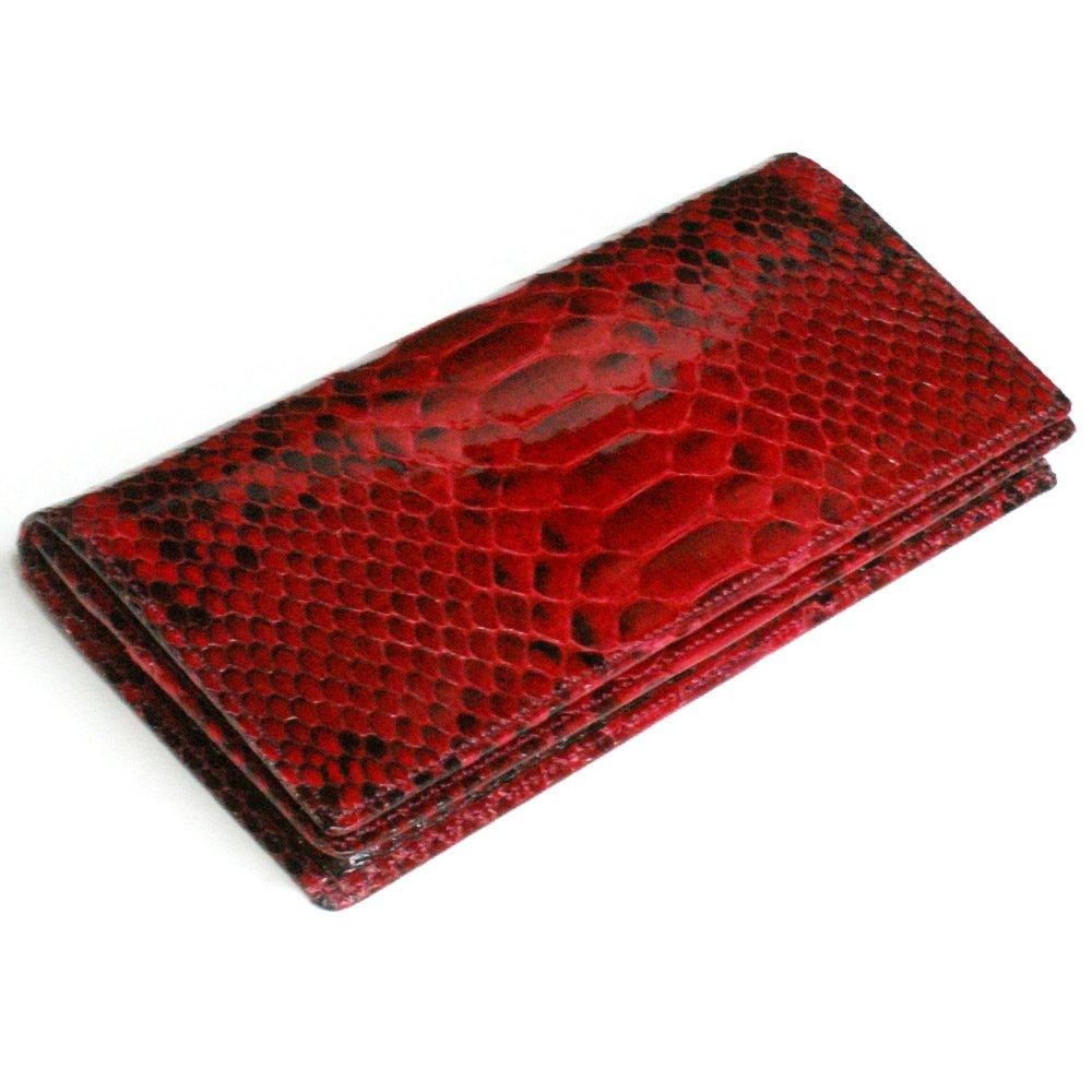 NC1076-2RED 赤いパイソン/蛇革無双長財布 通しまち小銭入れ付ナチュラルレッド B003TYXJJI