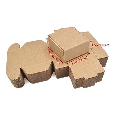 freahap 50pcs Caja de Regalo Cuatro Tamaños Cajas de Papel Kraft para Jabón Cajas de Pastel Envoltura de Postre S: Amazon.es: Hogar