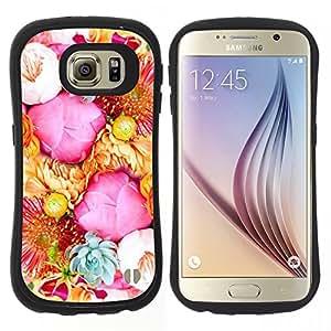 """Hypernova Slim Fit Dual Barniz Protector Caso Case Funda Para Samsung Galaxy S6 [Rosadas amarillas Ramo Rosas Flores""""]"""