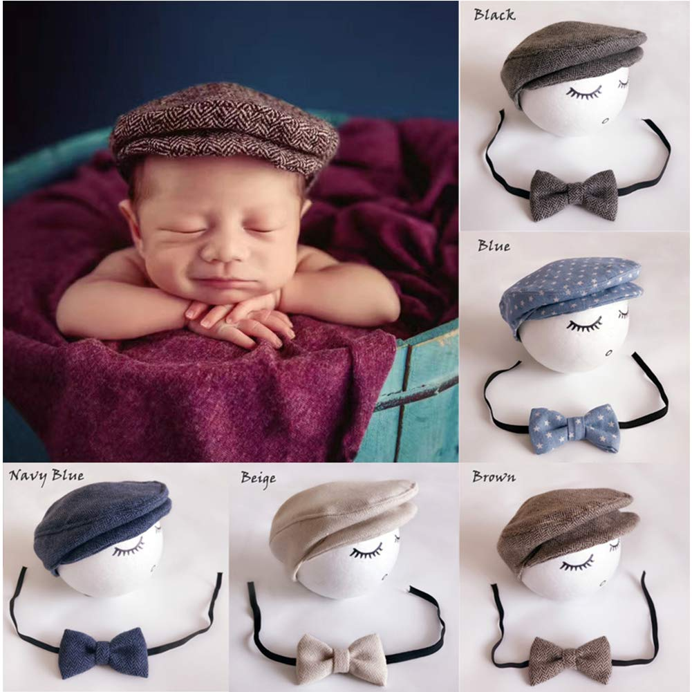 BINLUNNU Newborn Baby Photography Photo Props Boy Girl Costume Outfits Hat Tie Set (Grey) 2