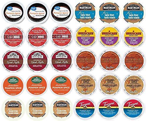 30-count - Limited Edition Fall Flavors Coffee Variety Pack for Keurig® K-cup® Brewers - Featuring Pumpkin Pie, Butter Toffee or Buttercream, Cinnamon Roll, French Vanilla, Caramel Apple Bread Pudding, Caramel Vanilla Cream, Vanilla Buttercream, Raspberry Truffle, Pumpkin Spice Cappuccino and Spiced Apple Cider
