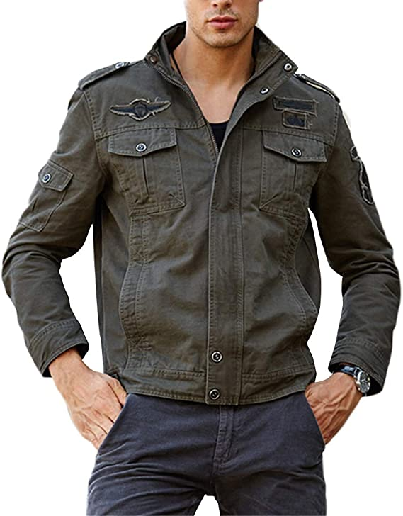 Men Bomber Military Jacket Camouflage Security Army Work Zipper Coat Outwear Hot