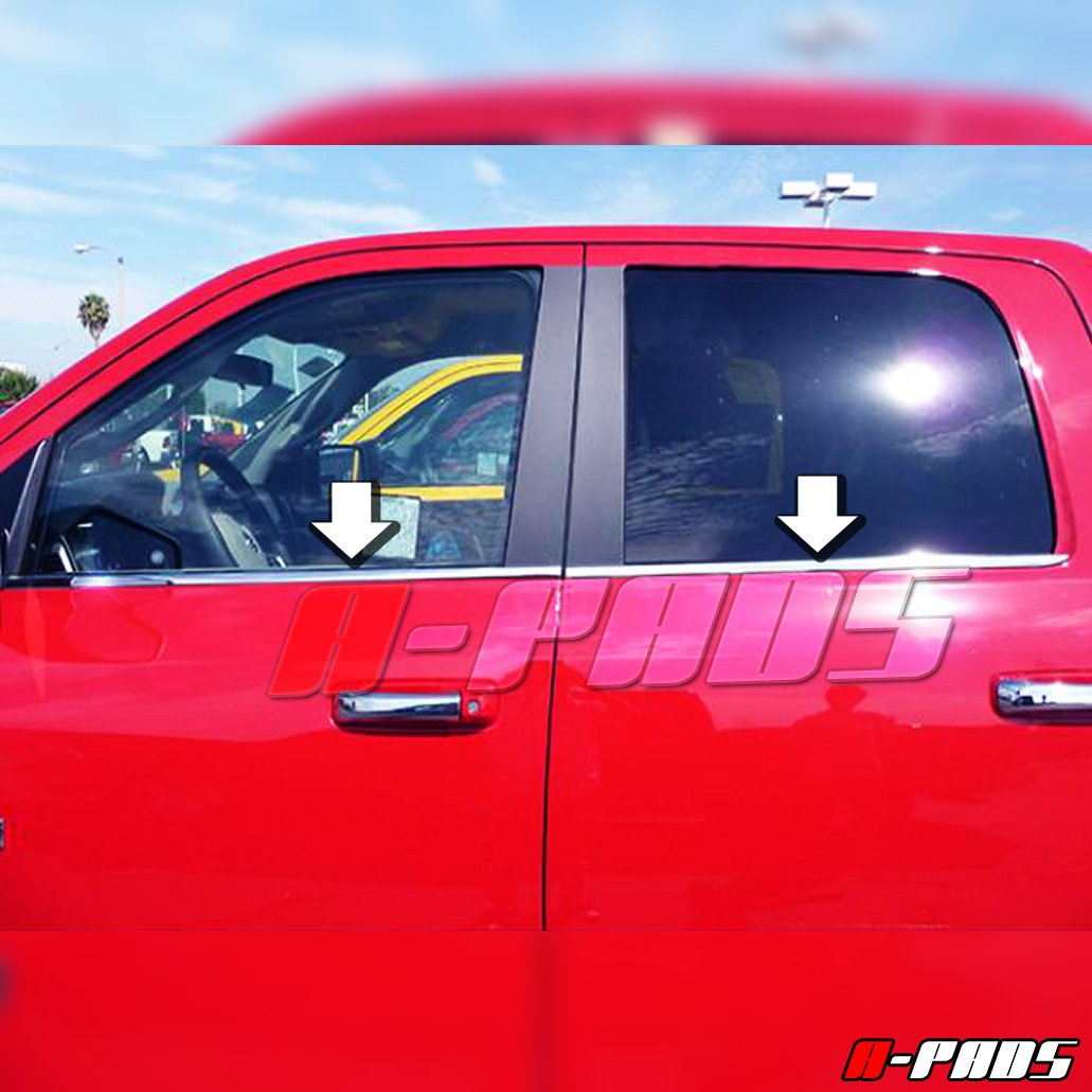 A-PADS Stainless STEEL Bottom Window Sill Trim Covers for Dodge RAM 2500 3500 CREW + MEGA CAB 2010-2017 - Chrome Outline Overlay Lower Molding