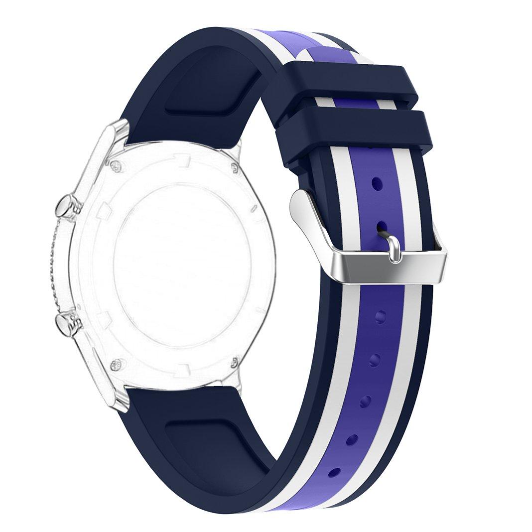 歯車s3フロンティア/クラシック時計バンド、ピンクリボン運動22 mmシリコンWatch用交換バンドステンレススチールクラスプバックルfor Samsung Gear s3フロンティア/ギアs3クラシック( Not Include接続アダプタ) Purple/White/Blue Purple/White/Blue B0721SCMKB