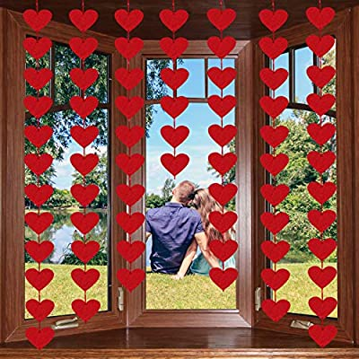 72 Red Hearts Felt Garland - NO DIY - Valentines Day Red Heart Hanging String Garland - Valentines Day Decor - Valentine Decorations - Valentines Wedding Anniversary Birthday Party Supplies