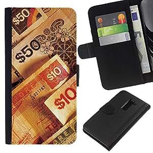 KingStore / Leather Etui en cuir / LG G2 D800 / Números de dinero riqueza rico símbolo 50