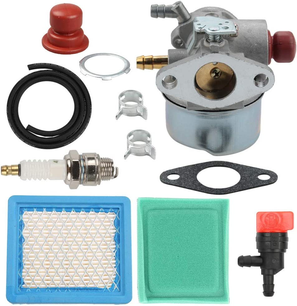 Yermax OHH60 Carburetor + Air Filter Tune Up Kit for Tecumseh OHH45 OHH55 OHH50 OHH60 OHH65 Snowblower 640025 640004