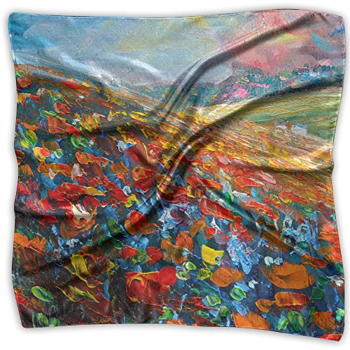 (Flower Field Women Large Satin Silk Feeling Square Scarf)