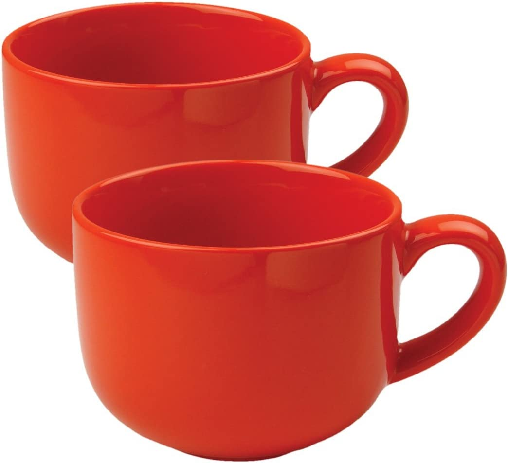 24 ounce Extra Large Latte Coffee Mug Cup or Soup Bowl with Handle - Orange (Set of 2)