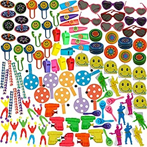 100+ Party Favor Pack: Tops, Whistles, Mini Pinballs, Yo-Yos, Sunglasses, kazoos, Chinese Handcuffs / Finger Traps, Paddle Ball, Water Guns, Parachute Men, Window Crawlers, Disk Launchers, Maracas