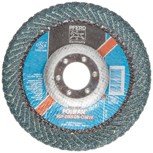 PFERD Polifan PSF Abrasive Flap Disc, Radial Shape, Round Hole, Phenolic Resin Backing, Zirconia Alumina, 5