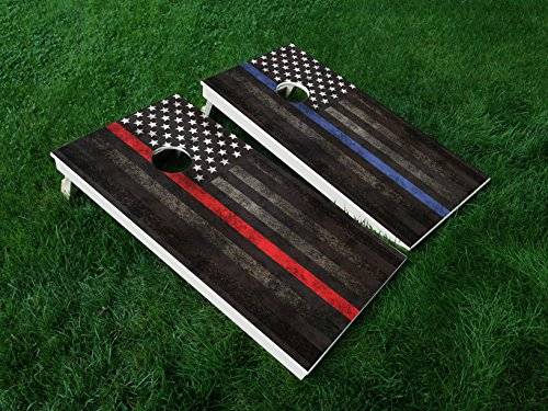DISTRESSED AMERICA THIN BLUE LINE 01 / THIN RED LINE 01 COMBO PUNISHER USA FLAG POLICE CORNHOLE WRAP SET Vinyl Board DECAL Baggo Bag Toss Boards MADE IN the USA