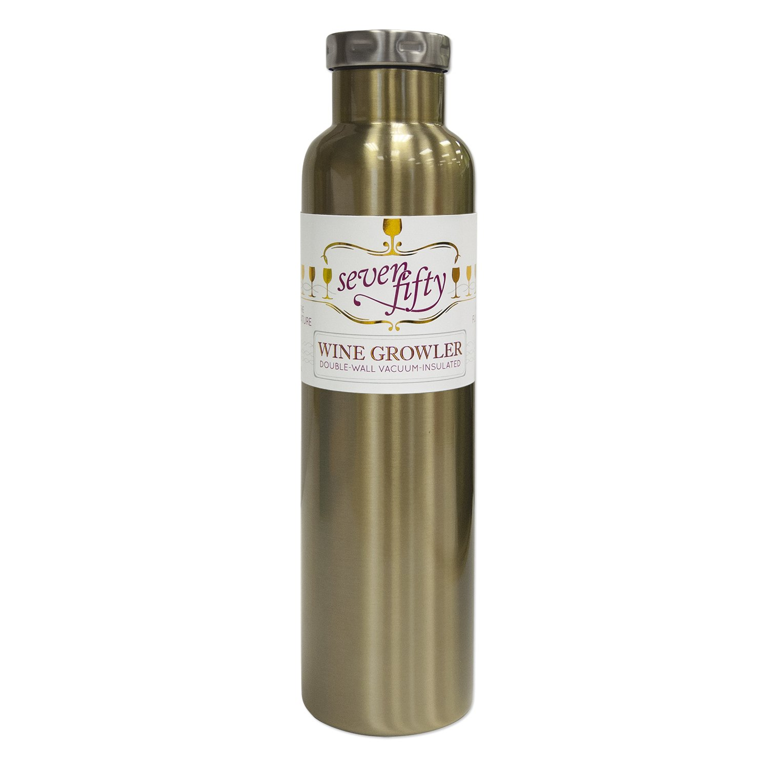 Lifeline 7512GO Gold Stainless Steel Vacuum Insulated Double Wall Bottle Style Growler - 750ml. Capacity