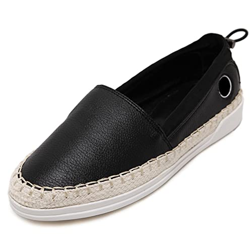 d48c338521 MINIVOG Womens Round Toe Sneakers Platform Flats Leather Slip on Loafers  Black 5