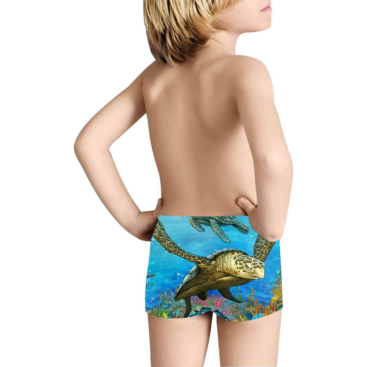 5T-2XL INTERESTPRINT Kids Sea Turtle with Coral Reef Art Comfortable Breathable Briefs