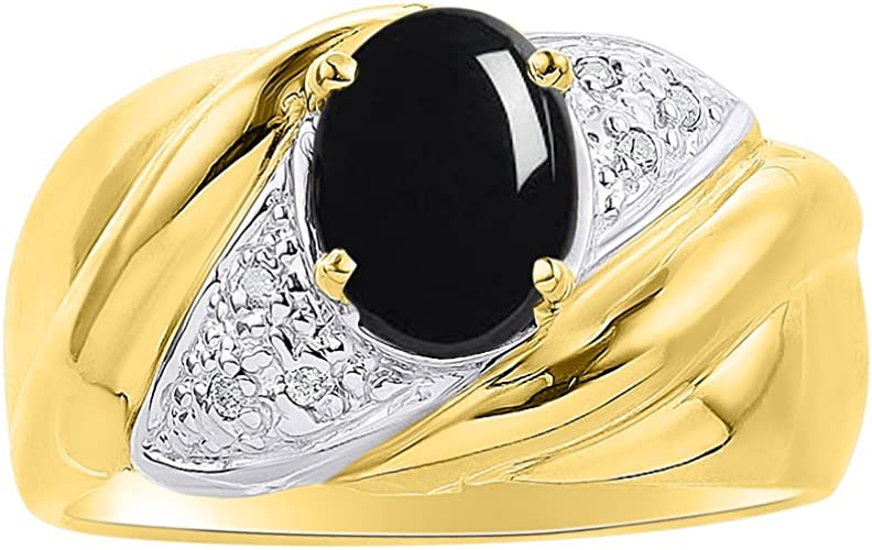 Color Stone Birthstone Ring Diamond /& Onyx Ring Set In Yellow Gold Plated Silver