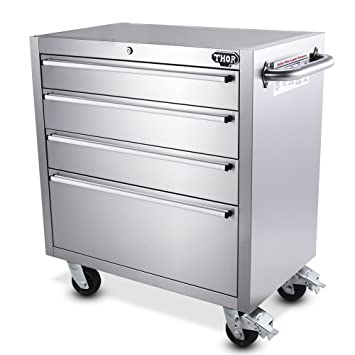 THOR KITCHEN 30 Inch Stainless Steel Rolling Tool Chests 4 Drawers Tool Box  Storage Bottom Cabinet
