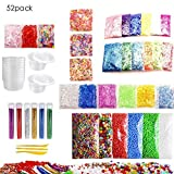 Slime Supplies Kit, 52 Pack Slime Beads Charms Include Foam Ball, Fishbowl Beads, Glitter, Fruit Slices, Storage Containers, Colorful Sugar Paper Accessories, Slime Tools for Slime Making DIY Craft