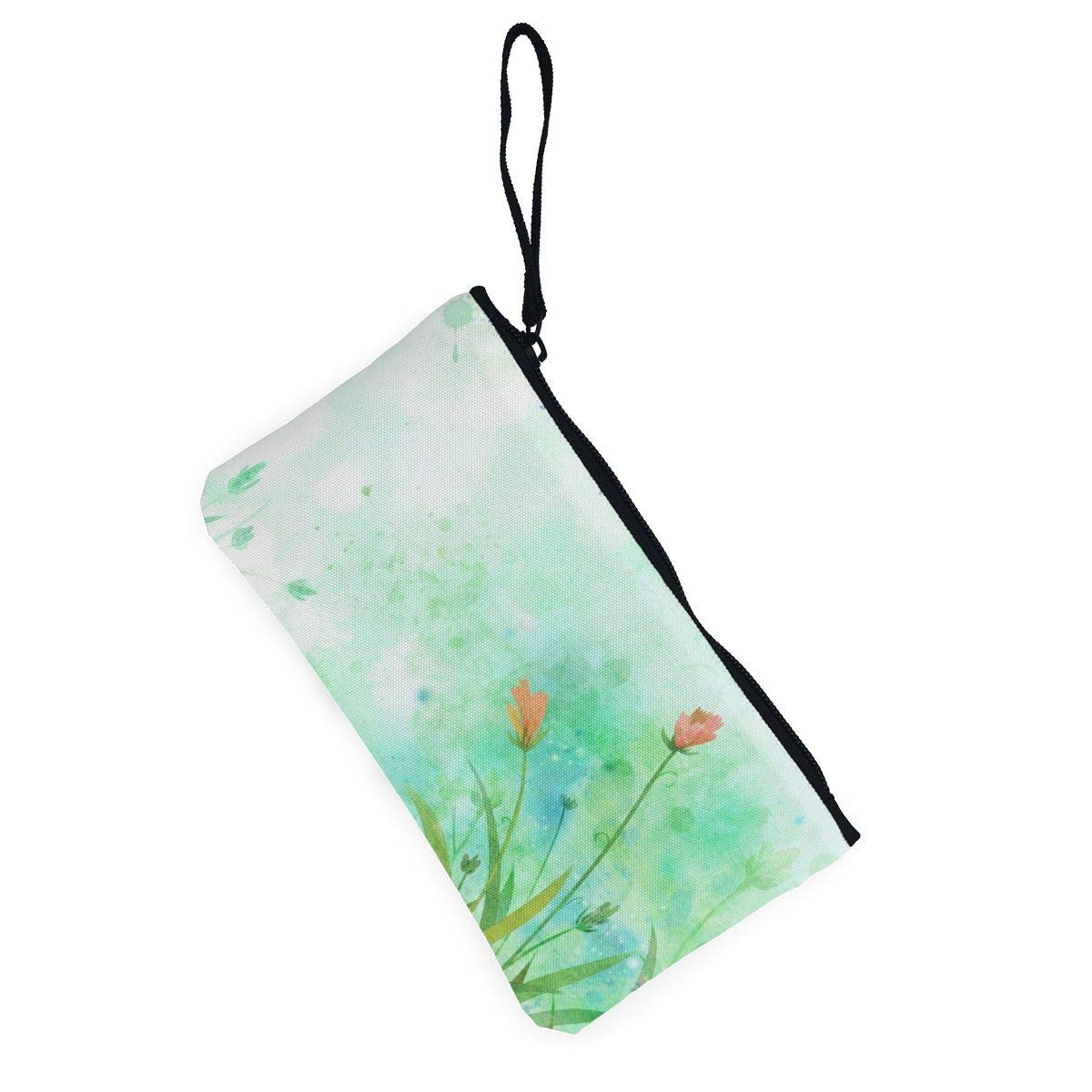 Canvas Cash Coin Purse,Hand Painted Flowers Print Make Up Bag Zipper Small Purse Wallets