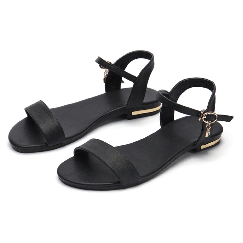 Women Sandals Genuine Leather Soft Rubber Sole Basic Buckle Strap Size 34-43 Women's Summer Shoes SS168 B07CVS9LGS 7.5 B(M) US|Black