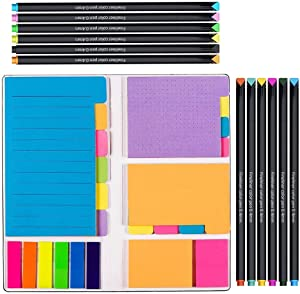 Vicnova Large and Small Sticky Notes Set with Fineliner Color Pens Set- 60 Ruled Lined Notes 4x6, 48 Dotted Notes 3x4, 48 Blank Notes 4x3,48 Orange 2x2 and Pink 1.5x2, 150 Inde x Tabs - 414 pcs