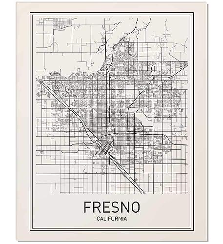 Amazon.com: Fresno Poster, Map of Fresno, Fresno Map, City Map ... on