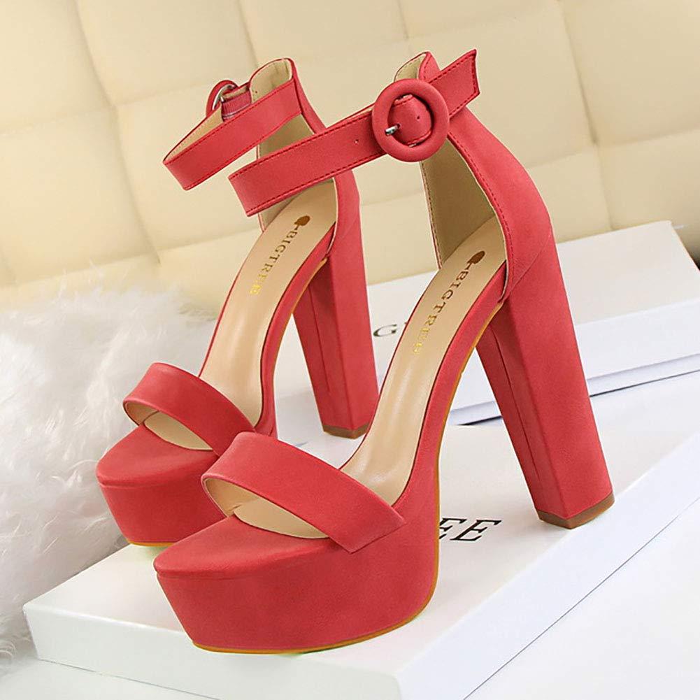 Red Thick Heel Platform Sandals, Women High Heels Sandals Women shoes 2019 Sexy Sandals Extreme High Heels