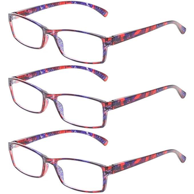 7451c83687e Reading Glasses 4 Pack Spring Hinge Readers for Men and Women Lightweight Rectangular  Glasses for Reading