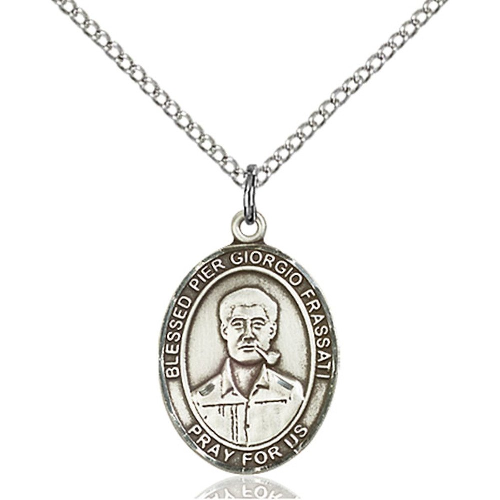 Bonyak Jewelry Blessed Pier Giorgio Frassati Hand-Crafted Oval Medal Pendant in Sterling Silver