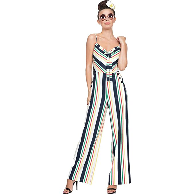 Women's 1960s Style Pants ZARAH Summer Stripes Jumpsuit White $76.99 AT vintagedancer.com