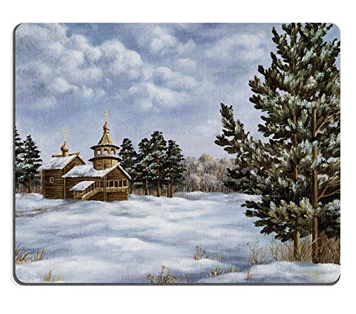 Pine Cupola (Liili Mouse Pad Natural Rubber Mousepad Picture oil paints on a canvas Landscape with pines and a temple Russia Photo)
