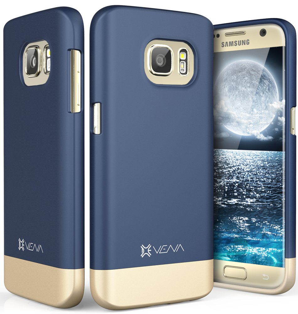Galaxy S7 Case, Vena [iSlide][Two-Tone] Dock-Friendly Slim Fit Hard Case Cover for Samsung Galaxy S7 (Blue/Champagne Gold)