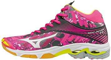 Womens Wave Lightning Z4 Mid WOS Volleyball Shoes, Rose/Gris/Blanc Mizuno