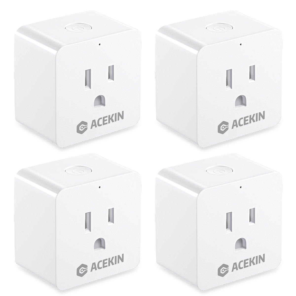 Smart Plug 4 Pack WiFi Smart Outlet Compatible with Amazon Alexa Echo Google Home Remote Control Mini Smart Socket with Timer Function by Acekin (AC 110-240V/10A)