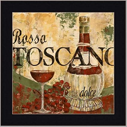 Amazon.com: Wine Tuscan Italian Dining Room Decor Art Print Framed ...