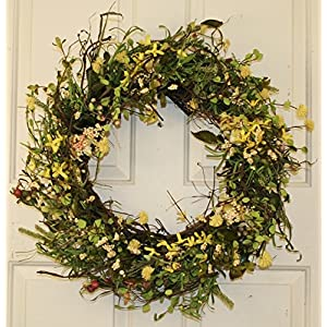 Yellow Forsythia and Berry Spring Wreath 22 Inch -Handcrafted on a Grapevine Wreath Base- Display in Spring, Easter, and Summer 58