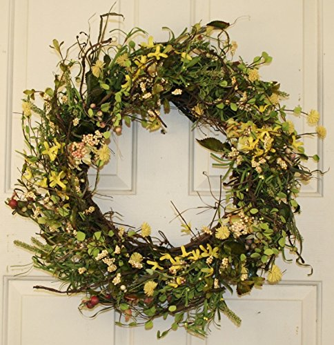 Yellow-Forsythia-And-Berry-Spring-Wreath-22-Inch-Handcrafted-on-a-Grapevine-Wreath-Base-Display-in-Spring-Easter-and-Summer