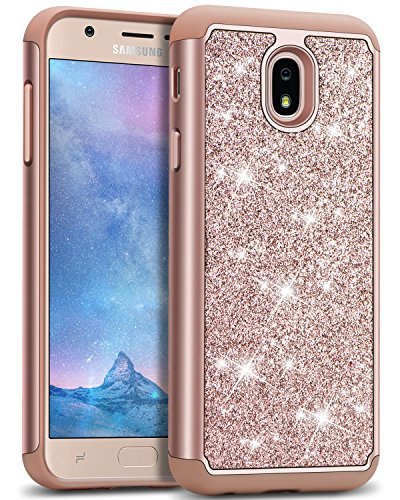 J&D Case Compatible for Galaxy J3 2018 Case, Sparkling [Glittering] [ArmorBox] [Dual Layer] Shock Resistant Hybrid Protective Rugged Case for Samsung Galaxy J3 (Release in 2018) Case - Rose Gold