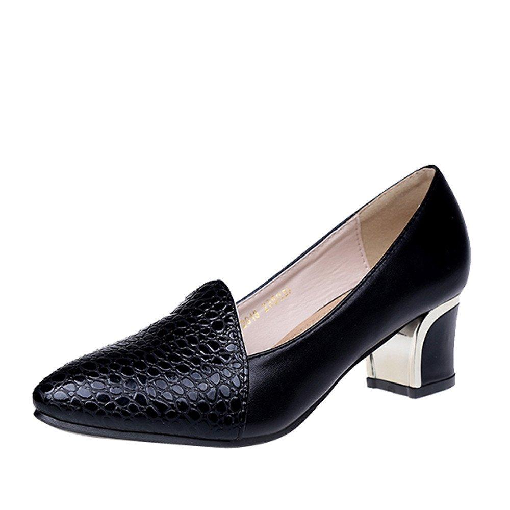 Zapatos elegante slip on del alto talón, Sonnena Calzado clásico para mujeres con boca poco profunda Zapatos de tacón cuadrado Zapatos de tacón alto de color sólido