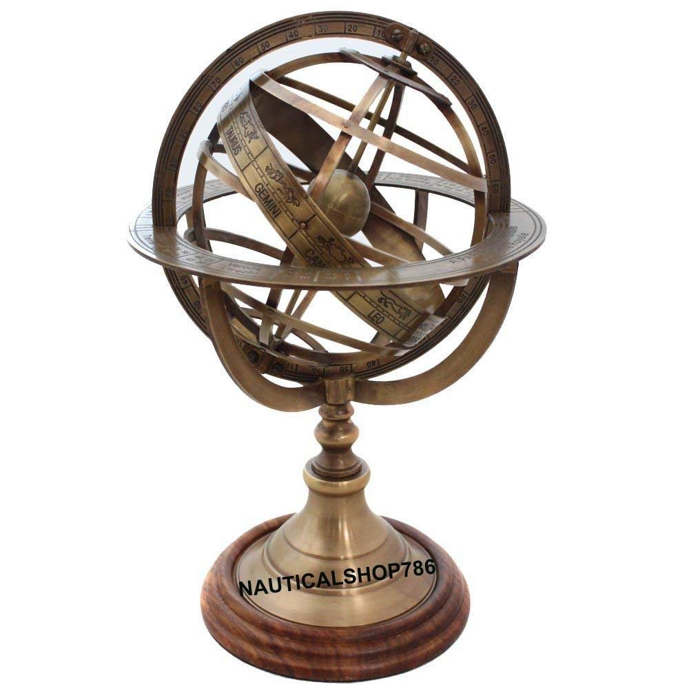 Arsh Nautical Armillary Brass Tabletop Sphere Globes Armillary 10 inches Office Decor A