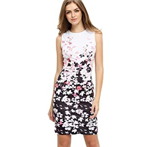 Elevin(TM)Women Summer Casual Floral Pattern Sleeveless Round Neck Short Dress (S, White)