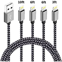 4-Pack Speate Braided Nylon Lightning Charge & Sync Cable (Black Gray)