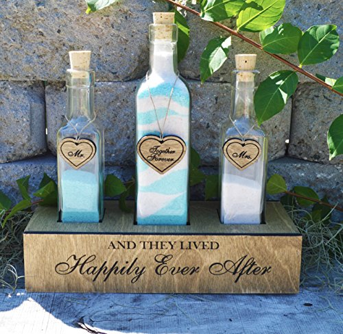 Happily Ever After Wood Crate and Bottle Wedding Unity Sand Ceremony Set (Traditional Unity Candle)