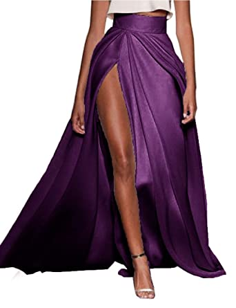 Roycebridal Falda Larga Sexy para Mujer con Pliegues - Morado ...