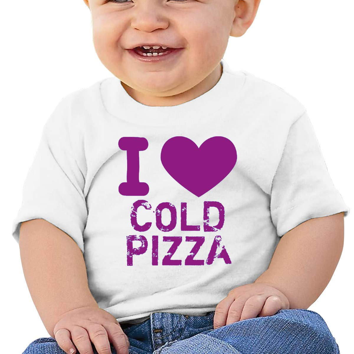 AiguanI Heart Cold Pizza Toddler//Infant Short Sleeve Cotton T Shirts White