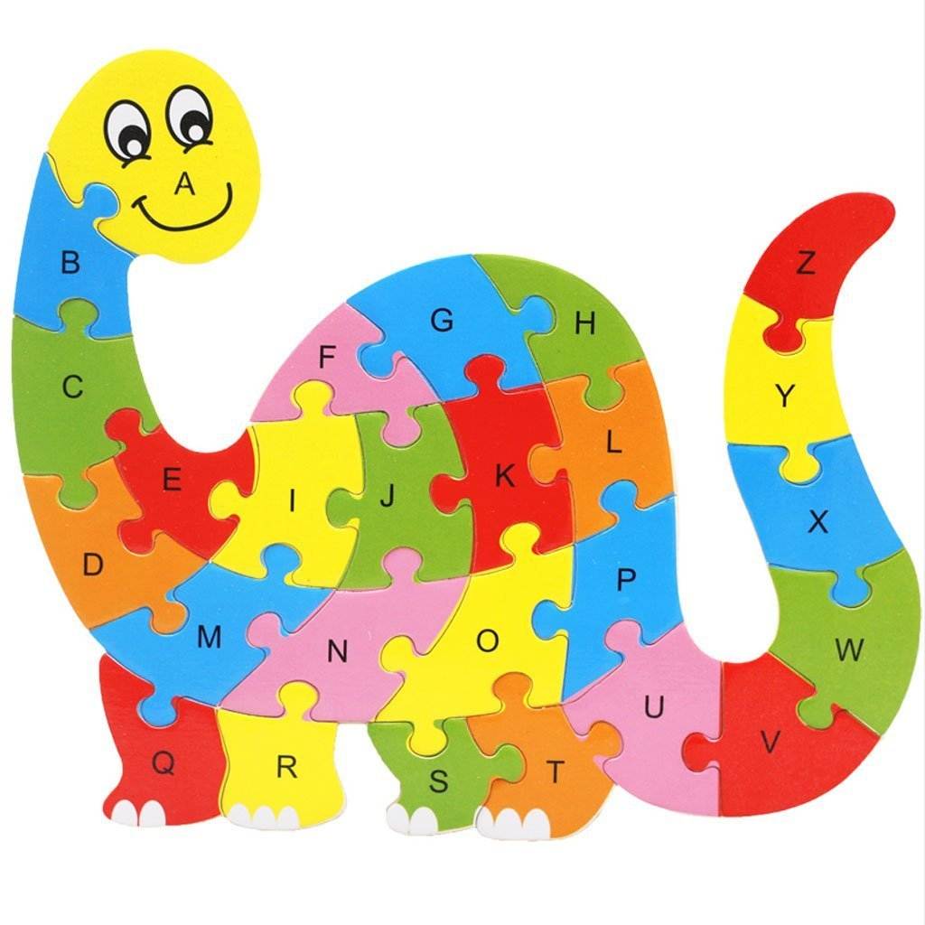 Wanrane A fine Gift Colorful Wooden Animal Number and Alphabet Jigsaw Puzzle Educational Toy for Kids(Dinosaur)